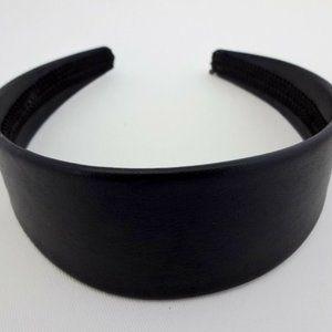 Black Leatherette Leather Headband 1.75 Wide Flex